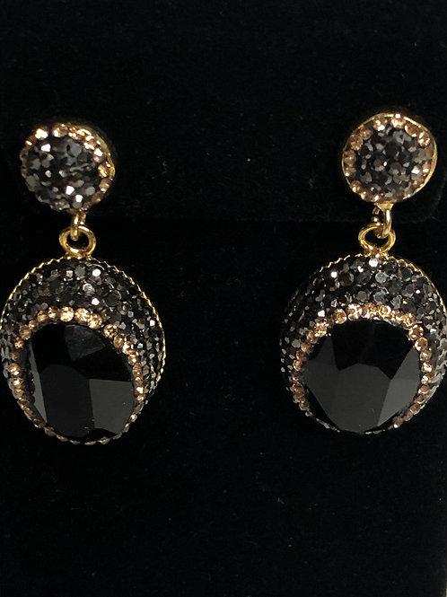 Oval black and gold Austrian crystal pierced earrings