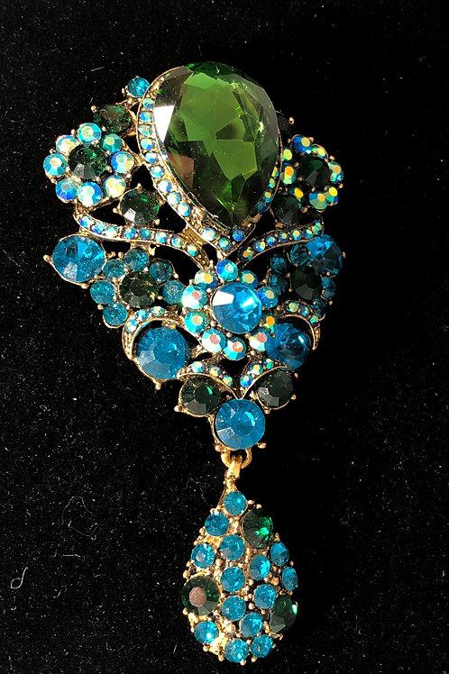Large blue green crystal drop brooch