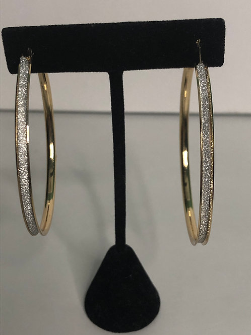 Crushed diamond large hoop earring in gold