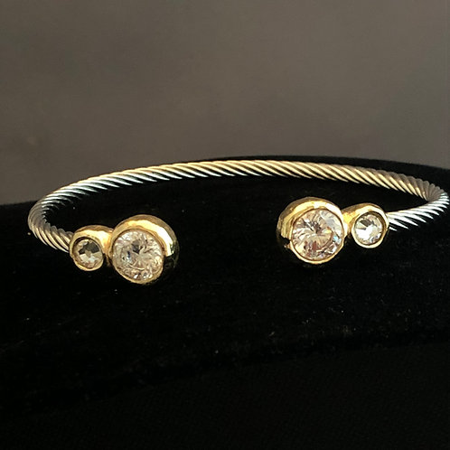 Designer look TWO TONE cable bracelet in cubic zircon o