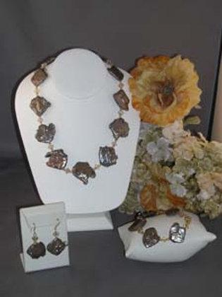 Brown Biwa pearl necklace 3 pc set with Swarovski crystal