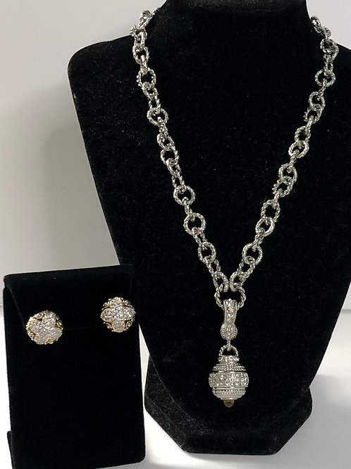 Silver stainless steel link chain w/silver pendant with earrings