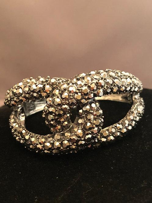 Love knot hinged Austrian crystal bracelet