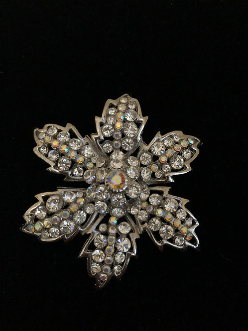 Snowflake Austrian crystal brooch