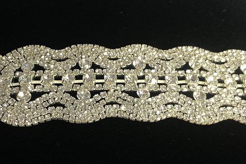 Intricate silver laced Austran crystal line bracelet