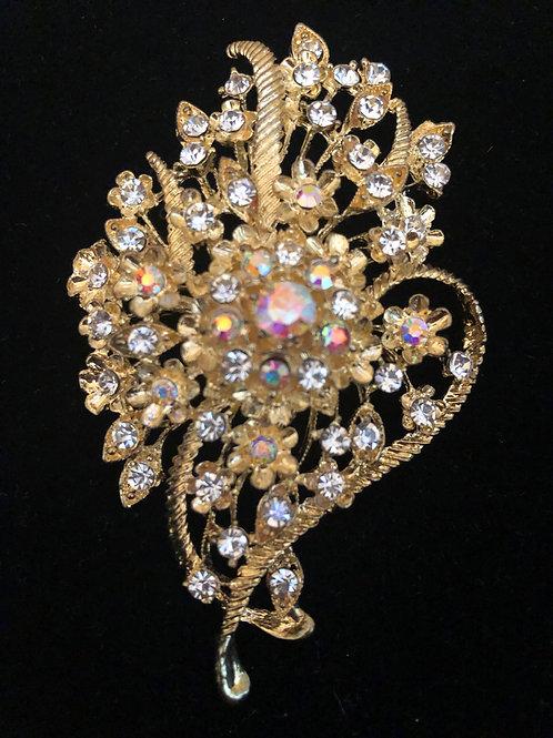 Gold flower Aurora Borealis crystal brooch