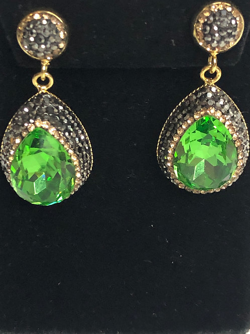 Tear drop Spring Green on Gold crystal Earrings