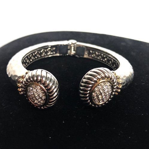 Round two tone hinged bracelet with clear Swarovski crystals