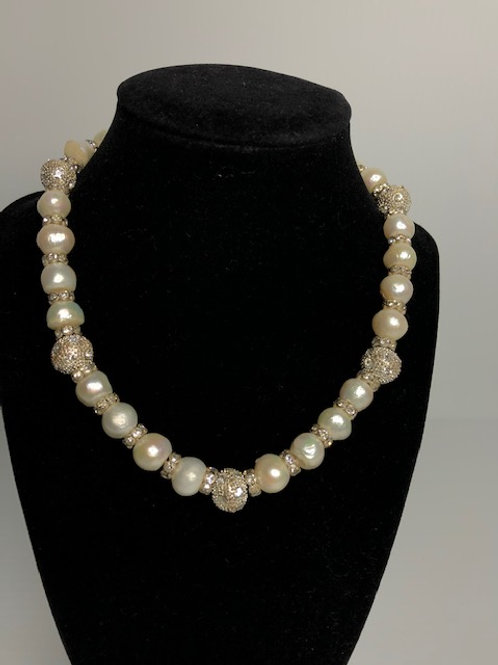 Single strand White FWP pearl necklace with large crystal balls