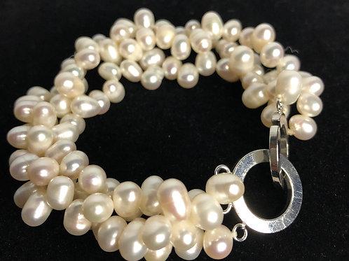 White multi strand FWP torsade/twisted pearl bracelet