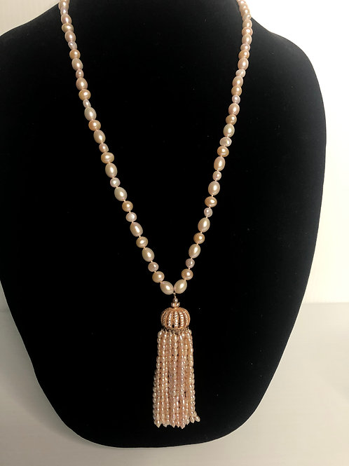Pink FWP tassel necklace with Rose Gold crown