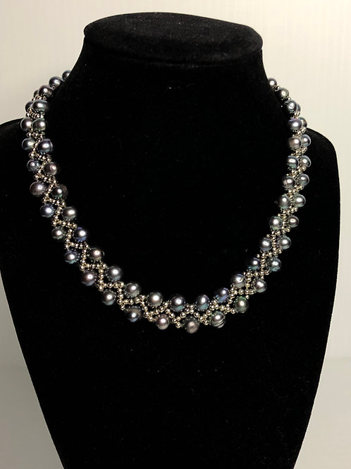 Braided Freshwater Cultured pearl necklace