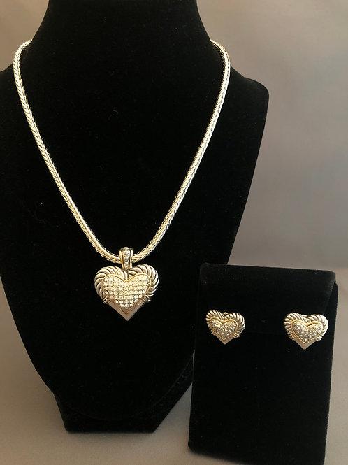 Designer look silver detachable heart pendant & pierced earrings
