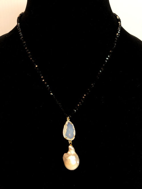 Single strand Czech crystals with tear drop opalite & pearl