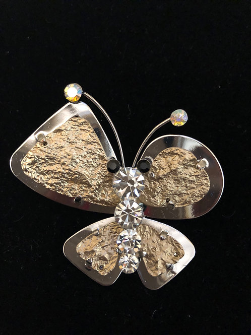 Gold and clear Austrian crystal butterfly brooch