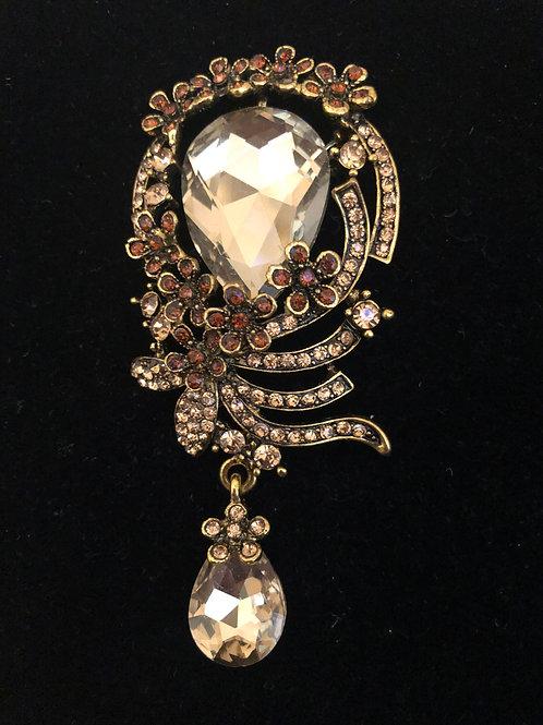 Large tear drop Austrian crystal brooch