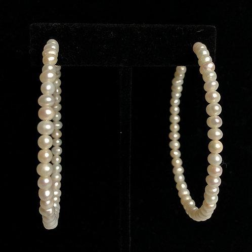 Large white Freshwater cultured pearl hoop earring