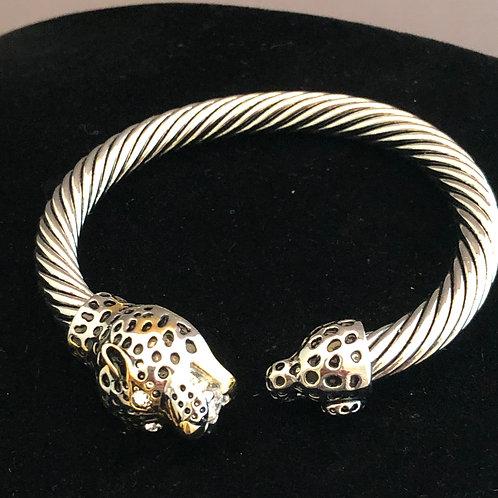 Two tone Designer look Panther bracelet