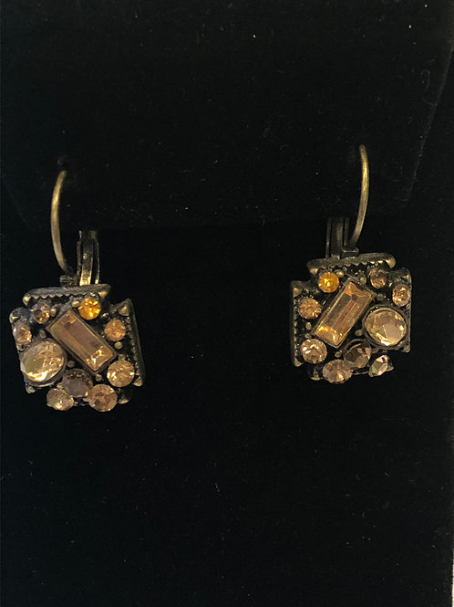 Champagne lever back earring