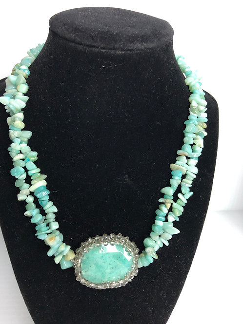 Amazonite stones with larger hexagonal stone in center