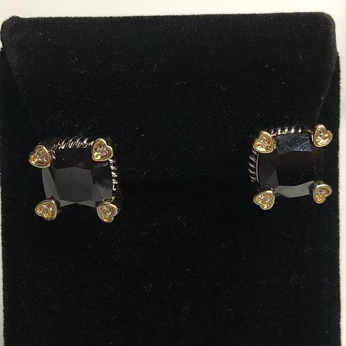 Designer Black Cubic Zircon lever back earrings
