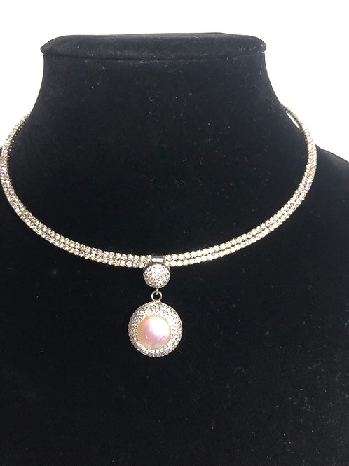 Silver Austrian crystal choker  with round white FWP pendant