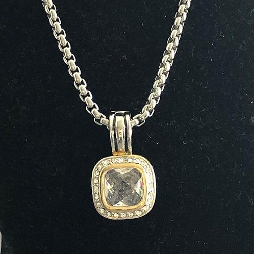Designer Clear detachable pendant on rhodium adjustable chain