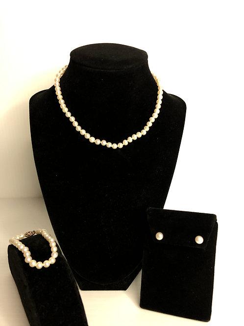Children's 5.0-5.5 mm white Freshwater Cultured pearl set