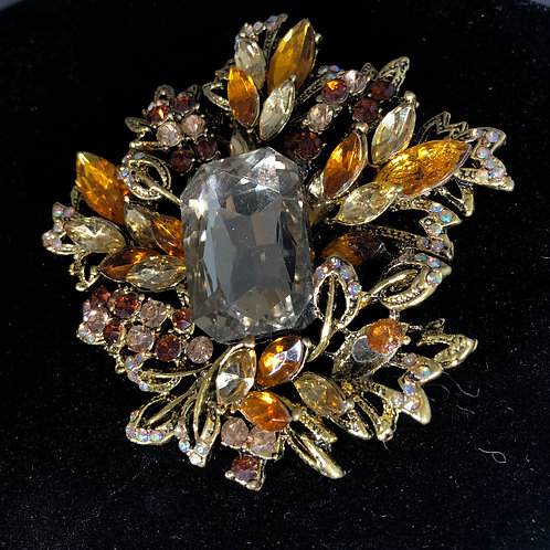 Large brown crystal brooch