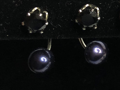 Double stacked Freshwater Cultured Pearl pierced earring