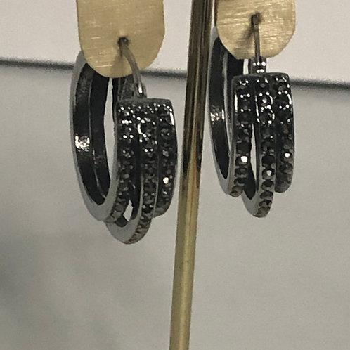 Stainless steel black crystal hoop earring