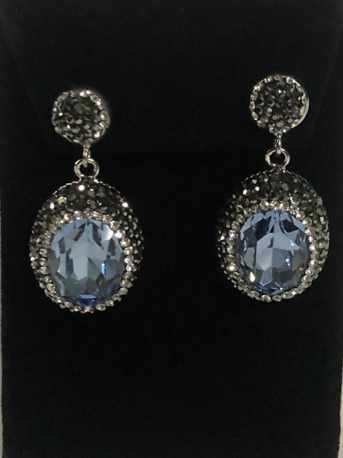 Blue gray and silver oval shaped pierced earrings