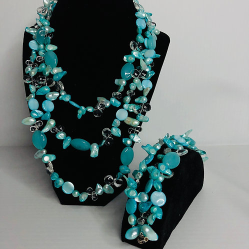 Triple strand set in turquoiseFWP blister pearls and crystals