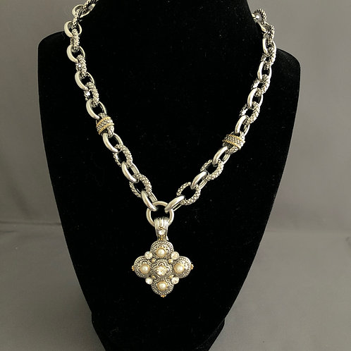 Designer look with detachable two tone enhancer with pearls