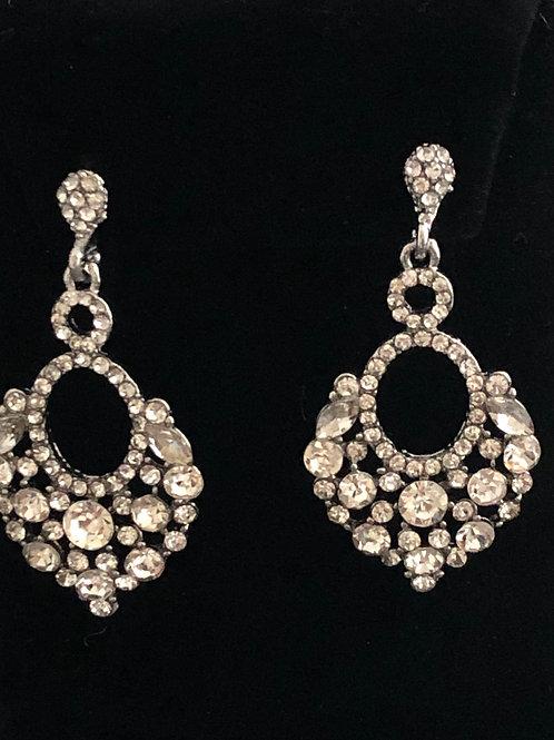 Antique silver clear crystal pierced earring