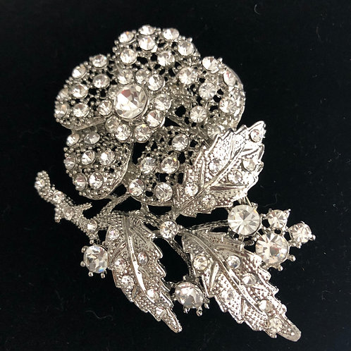 Silver ROSE clear crystal brooch