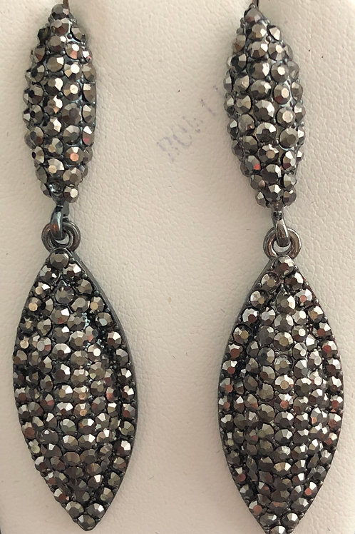 Jet black tear drop long Austrian crystal pierced earring