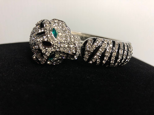 Silver Panther hinged bracelet in Swarovski crystals &  green eyes
