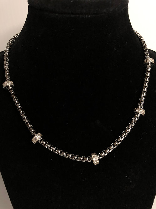 """16"""" Designer Inspired necklace in rhodium with decorative crystal findings and m"""
