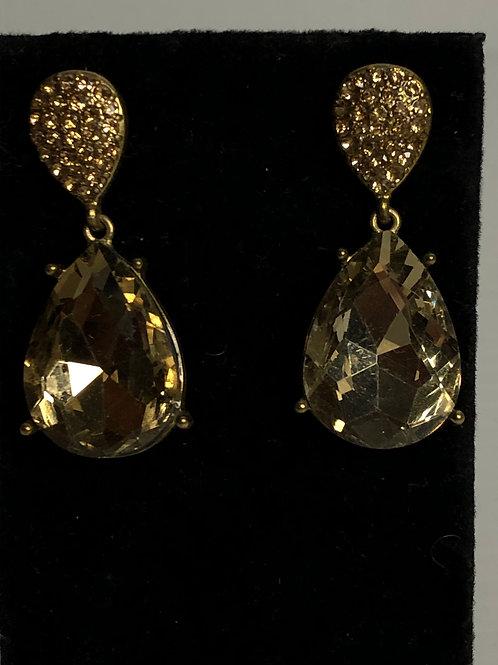 Champagne tear drop crystal pierced earring