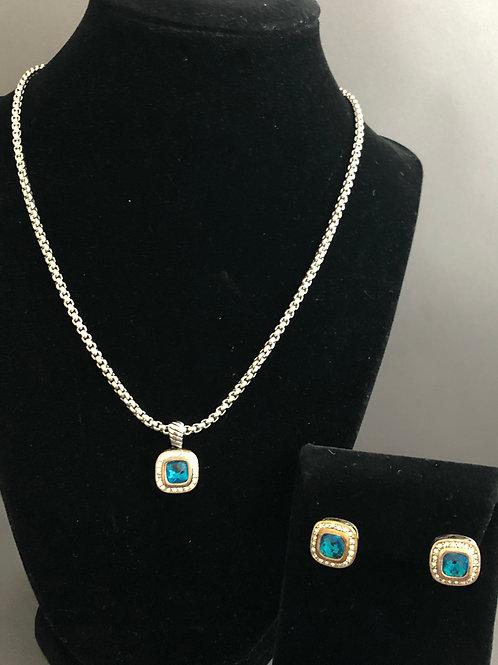 Designer TURQUOISE BLUE square pendant  & matching earrings