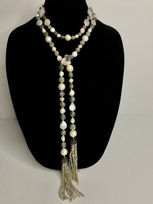 Long tie necklace scarf style in greenish gray stones