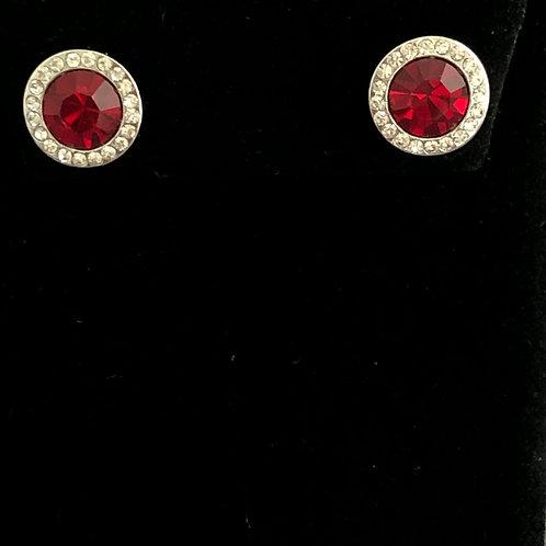 Swarovski crystal stud earrings - RED