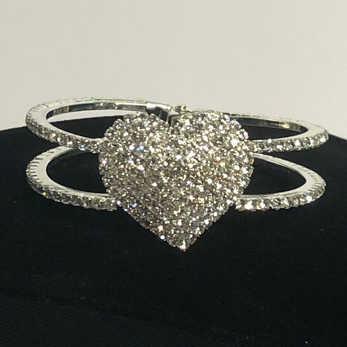 SILVER Austrian heart crystal in hinged bangle bracelet