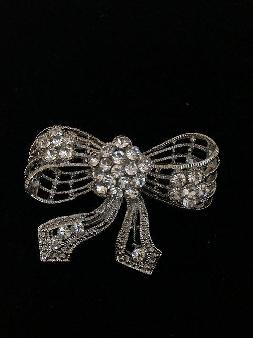 Silver bow tie Austrian crystal brooch