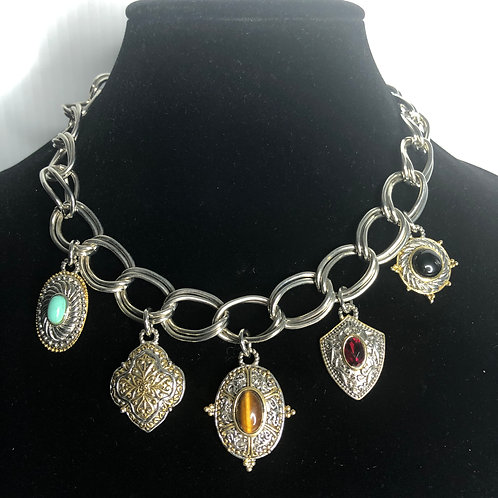 Designer inspired multi charms dropping from  neckline