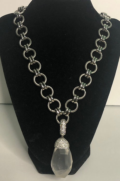 Stainless steel necklace with detachable clear quartz enhancer