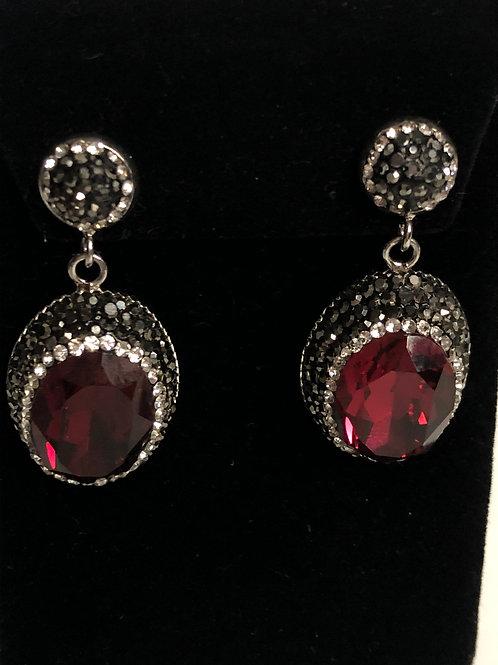 Red Oval on silver pierced earrings in Austrian crystals