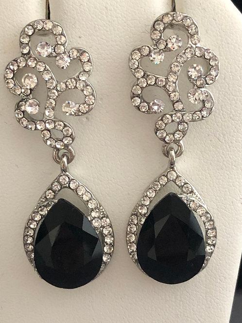 Jet black chandelier earring with clear crystal pierced earring