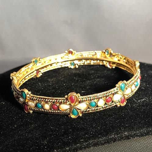 Indian bangle with semi-precious gemstones